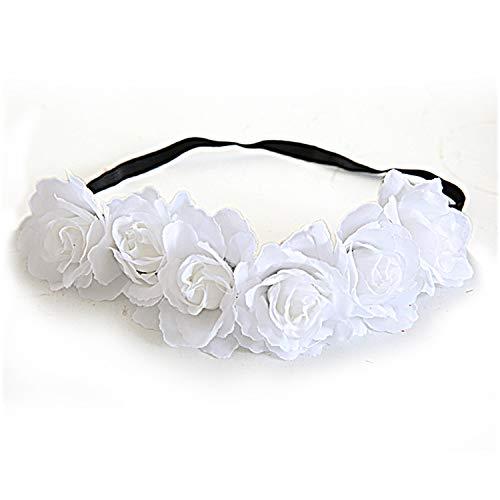Simulation Rose Flower Stretch Stirnband, europäischen und amerikanischen Stil Stirnband, Braut oder Brautjungfer Haarschmuck, Damen Urlaub Kranz White (Diamant-hochzeit Gold Bands White)