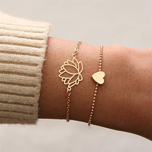 Weiy 2 Stücke Lotus Blume Herz Gold Kette Armband Set Frauen Mädchen Mode Charming Wunderschöne Armreif Armband Schmuck Zubehör Geschenk