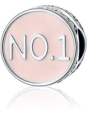 No. 1Charms Perlen 925Sterling Silber Rosa Zirkonia kubisch transparent Christmas Gifts passend für europäische...