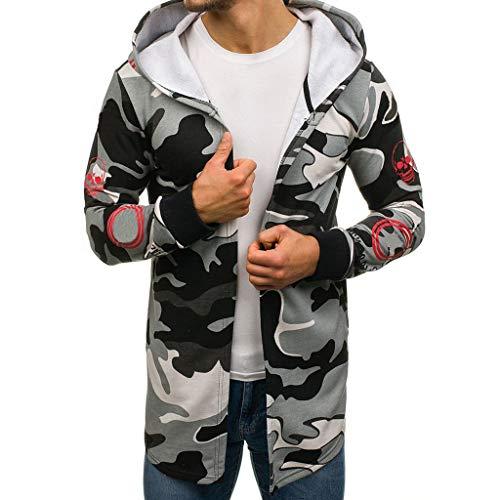 VANMO Herren Kapuzenpullover,2019 Neu Herren Camouflage Kapuzen Trenchcoat Jacke Strickjacke Langarm Outwear Jugendlicher Pullover Junior Kapuzenpullover mit Reißverschluss (Junior Trenchcoat)