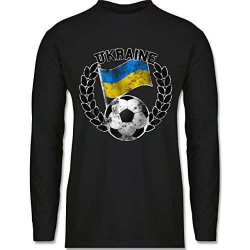 Shirtracer Fußball - Ukraine Flagge & Fußball Vintage - Herren Langarmshirt Schwarz