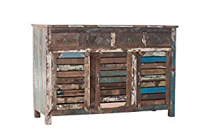 CLP Sideboard EKA aus recyceltem Teakholz I Kommode mit 4 Schubladen und 3 Türen I Mehrfarbiges Highboard im Vintage-Look Bunt
