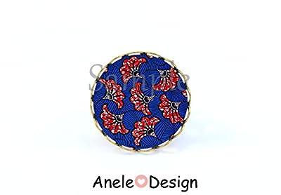 Bague Wax rouge et bleu bijou femme cabochon ethnique Afrique, MOTIF ETHNIQUE rouge, motif géométrique, motif rouge, noir, blanc, motif africain, bijoux style africain, cabochon, verre