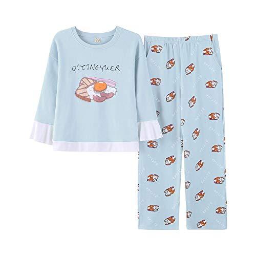 HAOLIEQUAN Freizeit Kleidung Frühling & Herbst Langarm Frauen Pyjamas Nette Katze Pyjamas Schöne Mädchen Nachtwäsche Homewear, XL