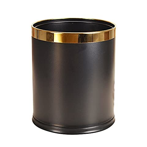 Luxury Metal Waste Bin with Leather Cover,Round Open Top Office Wastebasket,Double Layer Trash Can (Coffee Leather with gold