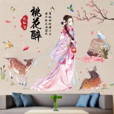 Romantische chinesische Pfirsich Tapete selbstklebende wasserdichte Wandaufkleber, Lu Ming Pfirsichblüte getrunken, Übergröße Ming Blossom