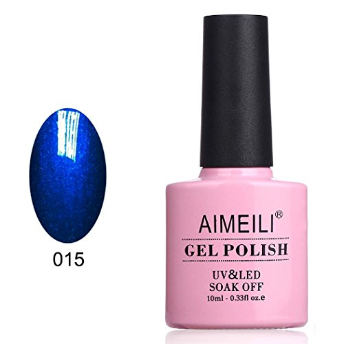 AIMEILI UV LED Gellack ablösbarer Nagellack Königsblau Glitzer Gel Polish - Midnight Swim (015) 10ml