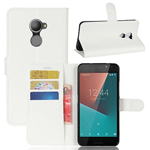 Tasche für Vodafone Smart N8 Hülle , Ycloud PU Kunstleder Ledertasche Flip Cover Wallet Case Handyhülle mit Stand Function Credit Card Slots Bookstyle Purse Design weiß