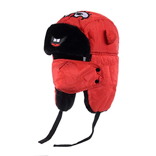 -Mütze Bomberhüte Winter Plus Samt Dicke Winddichte Kopfhörer Hut Lei Feng Hut Pilot Hut,Children's-Red ()