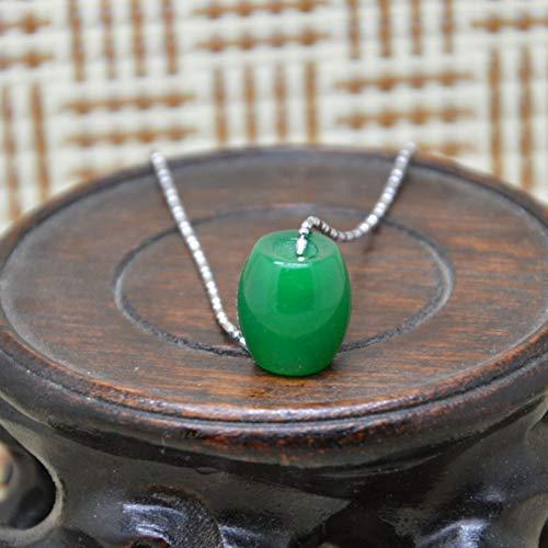 YANOAID Calcedonia De Piedra Verde Buena Suerte Colgante Y Hoja Charm Bead Collar Afortunado Collar De Mujer