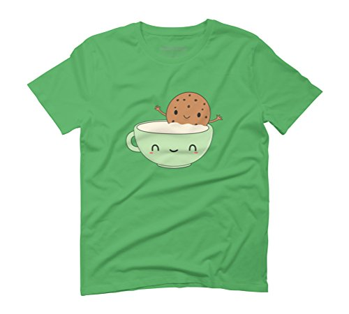 Cute Cookie and Milk Men's Graphic T-Shirt - Design By Humans Green