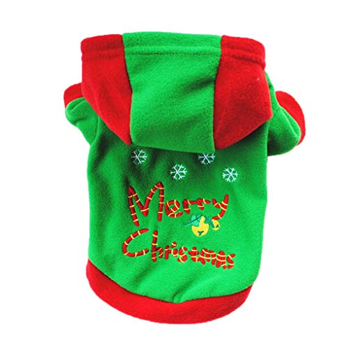 Provide The BestDog Pet Christmas Holiday Fleece Hoodies Dog Cat Pet Velvet Jacket Clothes Outfit Christmas Costume Top ()