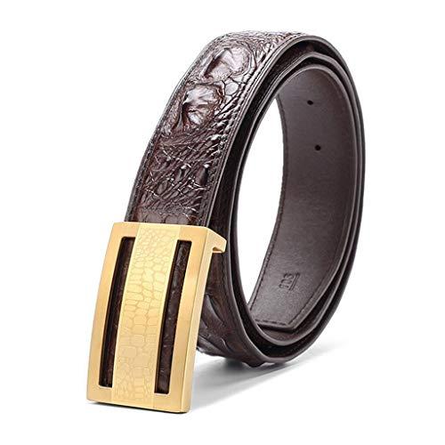 Cinturón- Cinturón de Cuero para Hombre, cinturón de Hebilla Lisa, Piel de cocodrilo, Moda Informal de Negocios, Bonito Regalo de Embalaje 3.8 cm de Ancho