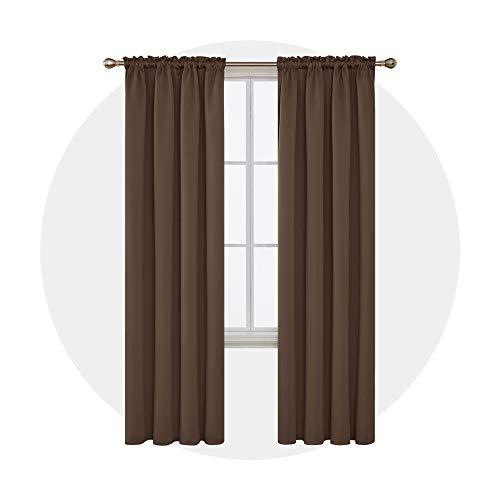 Deconovo tende oscuranti per interni termiche isolanti con passanti per casa moderne 132x214cm 2 pannelli marrone