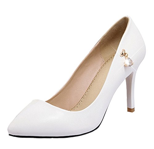 Aisun Damen Elegant Einfarbig Strass Pointed Toe Stiletto Pumps Weiß