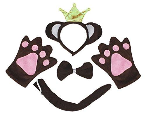 Petitebelle Brown Monkey King Headband Bowtie Tail Gloves 4pc Adult Costume (One (King Kostüm Halloween Monkey)