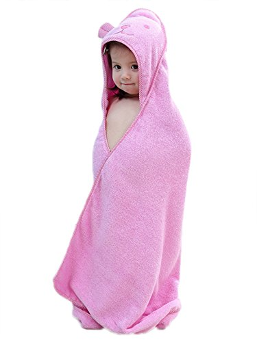 Unisex Baby Badetuch Kapuze Handtuch Badeponcho 100% Baumwolle Duschtuch Kuschelig Strandtücher Weich Bademantel 90cm*90cm-Rosa