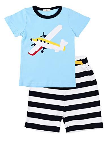 Little Hand Schlafanzug Jungen Dinosaurier Bagger Motorrad Flugzeug Kinder Sommer Zweiteiliger Baumwolle Kurz Nachtwäsche 92 98 104 110 116 122 (Urlaub Für Schlafanzug Jungen)