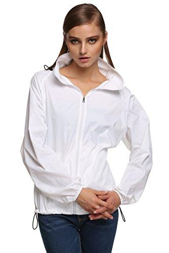 Zeagoo Damen Lightweight Softhelljacke Windjacke Outdoor Regenjacke Übergangsjacke Hoodie Kapuzenjacke Jacket Atmungsaktiv (EU 42(Herstellergröße:XL), Weiß)
