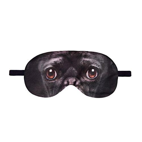 Fringoo Antifaz para dormir, diseños divertidos, para hombre y para mujer, ideal como regalo, poliéster, Pug Dog Black, talla única