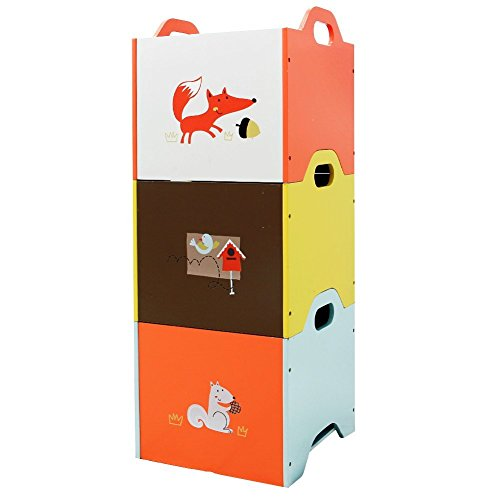 Labebe Estante Madera, Naranja/Amarillo/Azul Zorro 3 Apilable Organizador Bebé, Caja de Almacenamiento Madera para Bebé, Niña y Niño, Caja Almacenaje/Organizador Infantil/Caja Almacenamiento Madera