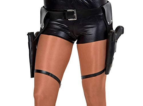 (shoperama Pistolen-Gürtel inkl. 2 Waffen Zwillingsholster Doppelholster Halfter Cop SWAT Lara Croft Polizist Gangster Kostüm-Zubehör)