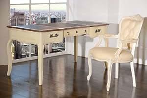 Bureau vintage en bois massif blanc style shabby chic table pour ordinateur de bureau