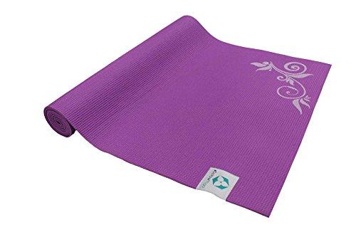 Tappetino da yoga di design »avatara comfort« / i tappetini da yoga ideali per principianti, con stampa decorativa di pregio / dimensioni: 183 x 61 x 0,5cm / viola