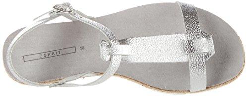 Esprit Keita T-Strap, Sandales Bout Ouvert Femme Gris (090 Silver)
