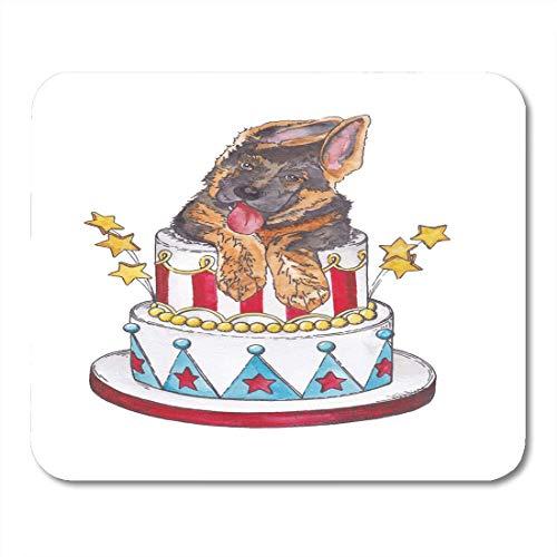Luancrop Mousepad Aquarell-Geburtstags-Welpe im Kuchen feiern an nettes Mousepad für Notizbücher, Tischrechner-Mausunterlagen, Büroartikel
