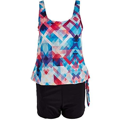 Lzdingli Schwimmkleider Frauen Plus Size Badeanzug Sets mit Boy Shorts Damen Bademode Zweiteilige Badeanzüge Beachwear Chic und Flirty (Color : Colorful, Size : XXL) -