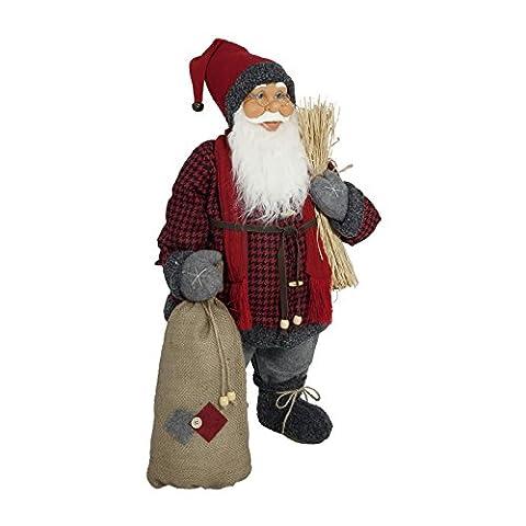 Weihnachtsmann Santa Nikolaus mit schönem Gesicht und vielen Details / Größe ca.80cm / rot karierter Mantel mit Schal, rpte Fellmütze, graue Hose, graue Stiefel,