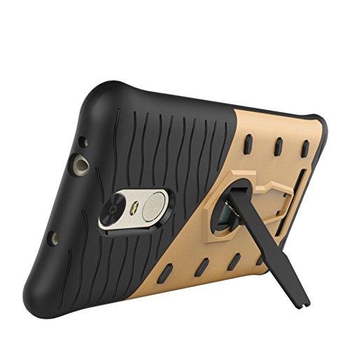 Für Xiaomi Hongmi Note 3 & Note 3 Pro Case Neue Rüstung Tough Style Hybrid Dual Layer Rüstung Defender Soft TPU / PC Rückseitige Abdeckung Fall Mit 360 ° Stand [Shockproof Case] ( Color : Gold ) Gold