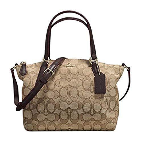 Coach Signature Mini Kelsey Satchel Crossbody Bag, Khaki, Brown -