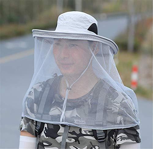 ZMXZMQ Mosquito Head Net Hat, Repelente De Mosquitos Head Net, Protección contra Insectos Bug Bee Gnats Cubo Boonie Hat Cap Al Aire Libre Hombres,Lightgray
