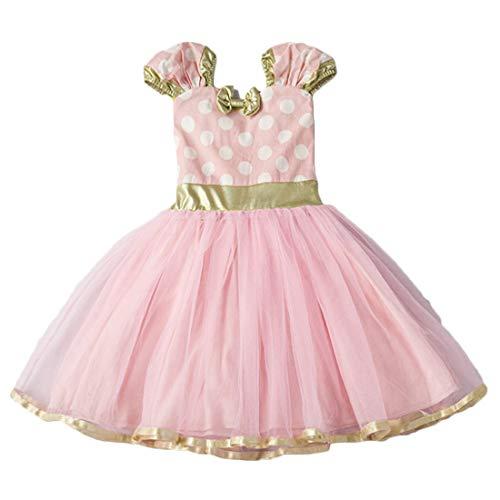 Inlefen Mädchen Polka Dots Strumpfhosen Kleid Fancy Dance Kostüm Ballett Rock Weihnachten Halloween Party Cosplay rosa 80