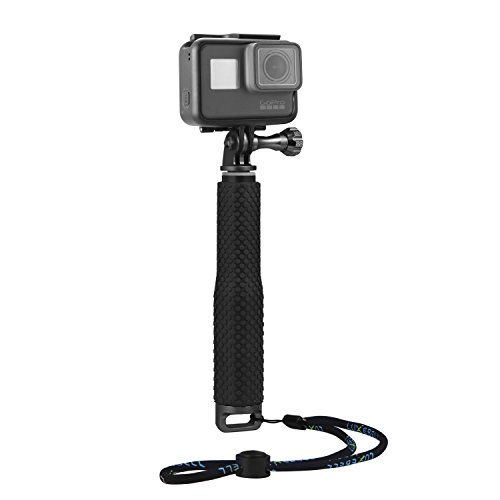 Moonlight Tech regolabile in alluminio telescopico monopiede palmare allungabile selfie stick per GoPro Hero 4 sessione, nero, argento, Hero 2 3 3 + 4 5 SJ4000 SJ6000 Action Camera (s1 black)