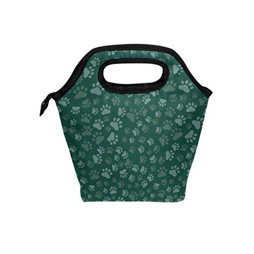 yibaihe Isolierte Lunch Tasche Tasche Dog Paw Print Lunch-Boxen Handtasche mit Reißverschluss für Outdoor Picknick Frauen Kinder -