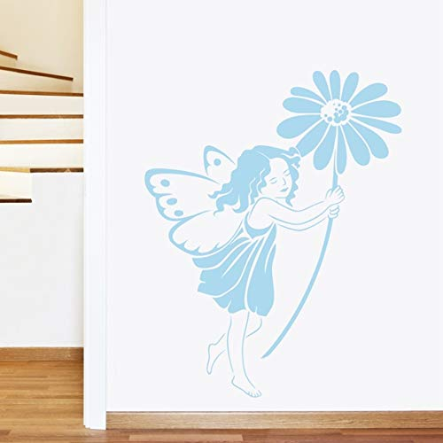 Daisy Fleur Fée Sticker mural – Art Stickers muraux en vinyle, Childs Chambre à coucher, salon, facile à appliquer, sans Applicateur, faciles à décoller – (veuillez choisir votre taille et couleur à l'aide de la Sélection Boîtes) – par Rubybloom Designs, bleu pastel, Large 86cm x 109cm