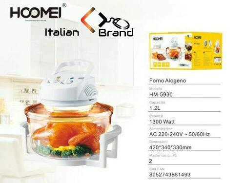 Italian Brand - Horno halógeno ventilado 1300 W capacidad 12 L Timer...