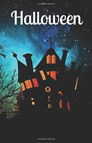 with Haunted House Witch's Halloween Journal Perfect Bound Quality Festive Design Happy Halloween ()