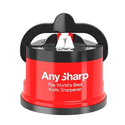 AnySharp World's Best Knife Sharpener with PowerGrip, Red