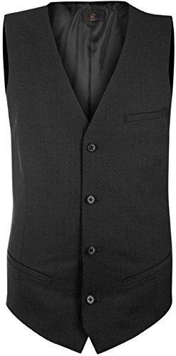 GREIFF Herren-Weste Anzug-Weste PREMIUM regular fit - schwarz - Größe: 62 (Schwarz Suit Wolle Herren)