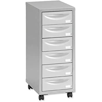 Pierre Henry 6 Multi Drawer Filing Cabinet   Silver/ Grey