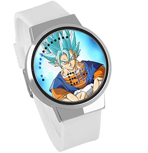 Smartwatches,Drachenball-Animation des Touch Screen Led Um Wasserdichte Leuchtende Elektronische Uhr Kreatives Geschenk Silberner Rahmen Leukorrhö