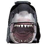 """3D Animals stampa zaino per bambini con scomparto per laptop Bookbag grigio Shark 16"""""""