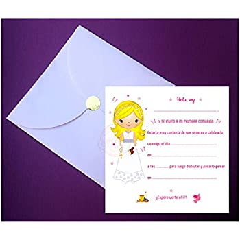 Lot de 12 Pour Fille Premi/ère Communion Invitations//Invitation Double Fold Dor/é Impression C27922 /Écrit en Anglais