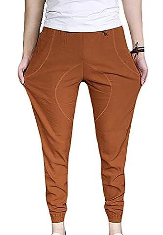Fulok Mens Baggy Splice Elastic Waist Solid Jogger Outdoor Pant XXX-Large Orange
