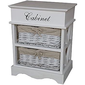 Sabichi Paulownia 3 Tier Drawer Wooden Storage Cabinet With Wicker ...