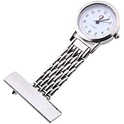 Gleader Silver Nurse Doctor Brooch Pocket Pendant Quartz Watch
